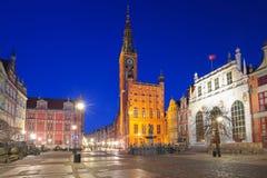 Красивая архитектура старого городка в Гданьск вечером, Польша стоковые фотографии rf