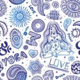 Красивая безшовная картина йоги с орнаментами Стоковое Фото