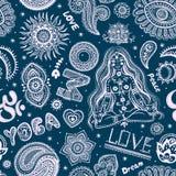 Красивая безшовная картина йоги с орнаментами Стоковая Фотография RF