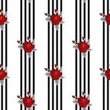 Красивая безшовная картина красных роз на striped черно-белой предпосылке  иллюстрация вектора