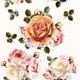 Красивая безшовная картина обоев с розовыми цветками бесплатная иллюстрация
