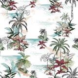 Красивая безшовная картина острова на белой предпосылке Ландшафт иллюстрация вектора