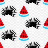 Красивая безшовная картина с арбузом и тропический силуэт лист на геометрической предпосылке зигзага Стоковые Изображения