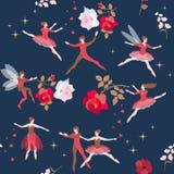 Красивая безшовная картина с волшебными танцорами и розовыми цветками в звездном небе Абстрактные предпосылки фантазии с волшебно иллюстрация штока