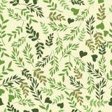 Красивая безшовная картина с зелеными листьями Совершенные поздравительные открытки предпосылки, приглашения к свадьбе и другое Стоковая Фотография RF