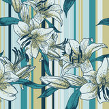 Красивая безшовная картина с лилиями Стоковые Изображения RF