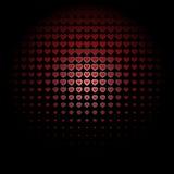 Красивая безшовная картина с красным цветом выбила сердца на черной предпосылке Бесплатная Иллюстрация