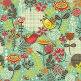 Красивая безшовная картина с милыми птицами. иллюстрация вектора
