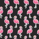 Красивая безшовная картина с стикерами фламинго на черной предпосылке Стоковая Фотография