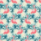 Красивая безшовная картина с фламинго и тропическими заводами Стоковое Фото