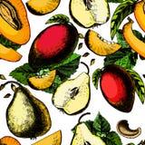 Красивая безшовная картина с экзотическими плодоовощами Иллюстрация штока