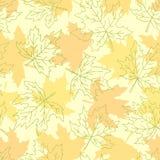 Красивая безшовная картина doodle с желтым эскизом кленовых листов конструируйте поздравительные открытки и приглашения предпосыл иллюстрация вектора