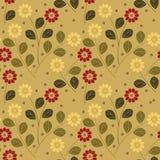 Красивая безшовная предпосылка с красочными солнцецветами и листьями Стоковая Фотография