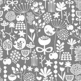 Красивая безшовная текстура с птицами и цветками. Стоковые Изображения RF