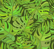 Красивая безшовная тропическая предпосылка цветочного узора джунглей иллюстрация штока