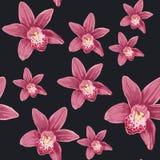 Красивая безшовная флористическая предпосылка картины лета с тропической орхидеей цветет иллюстрация вектора