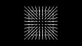 Красивая белая коробка куба вращать, ставит точки частица иллюстрация вектора