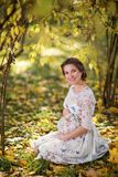 красивая беременная женщина в осени стоковая фотография rf