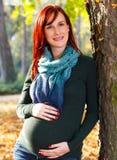 Красивая беременная женщина в парке Стоковое фото RF
