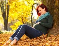 Красивая беременная женщина сидя в парке Стоковые Изображения