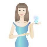 Красивая белокурая девушка с дух иллюстрация вектора