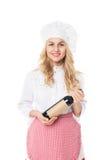 Красивая белокурая женщина в шляпе и рисберма держа бутылку Стоковые Изображения RF