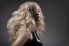 Красивая белокурая женщина. Курчавые длинные волосы стоковые фото