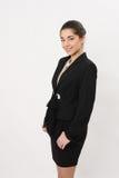 Красивая бизнес-леди на белой предпосылке Стоковое Изображение