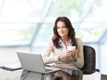 Красивая бизнес-леди с компьтер-книжкой стоковые фото