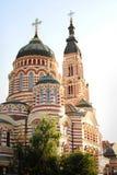 Красивая большая церковь против стоковые изображения