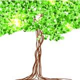 Красивая бумага, украшенная с fairy деревом и зеленым ярким блеском вектор Стоковые Изображения RF