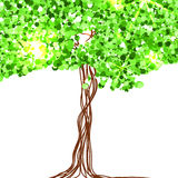 Красивая бумага, украшенная с fairy деревом и зеленым ярким блеском вектор Стоковые Фото