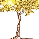 Красивая бумага, украшенная с fairy ярким блеском дерева и золота вектор Стоковые Изображения RF
