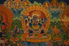 Красивая буддийская фреска на стене тибетского монастыря, Hemi стоковая фотография rf
