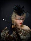 Красивая блестящая женщина в студии стоковая фотография rf