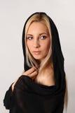 Красивая блондинка на белой предпосылке Стоковая Фотография RF