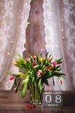 Красивая валентинка тюльпанов весны Стоковое Изображение
