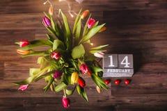 Красивая валентинка тюльпанов весны Стоковые Изображения RF