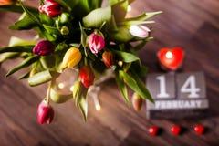 Красивая валентинка тюльпанов весны Стоковое Фото