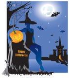 Красивая ведьма с тыквой в погосте иллюстрация штока