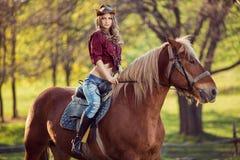 Красивая верховая лошадь девушки на поле осени Стоковое фото RF