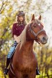 Красивая верховая лошадь девушки на поле осени Стоковое Фото