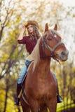 Красивая верховая лошадь девушки на поле осени Стоковые Изображения
