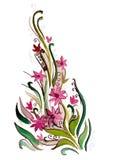 Красивая ветвь с розовыми цветками Стоковые Фотографии RF