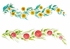Красивая ветвь с цветками и листьями Стоковое Изображение RF