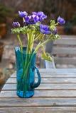 Красивая ветреница цветет в стеклянной вазе на таблице Стоковые Фото