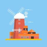 Красивая ветрянка на Cley в Норфолке также вектор иллюстрации притяжки corel Стоковая Фотография RF