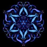 Красивая волшебная мандала Абстрактная фракталь с мандалой сделанной светящих линий Загадочная картина релаксации Шаблон йоги иллюстрация штока