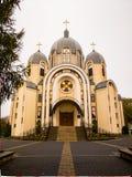 красивая восточная церковь в падении - листья осени стоковая фотография rf