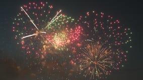 Красивая выставка фейерверков в ночном небе акции видеоматериалы